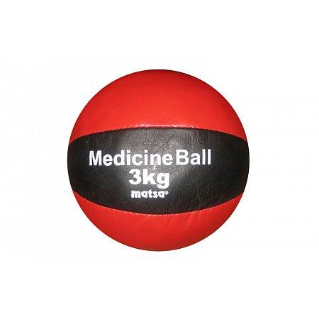 Мяч медицинский (медбол) MATSA ME-0241-3 3кг (верх-кожа, наполнитель-песок, d-18см, красный-черный)