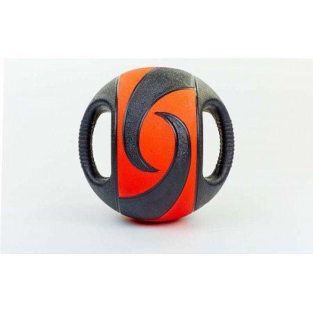 Мяч медицинский (медбол) с двумя рукоятками FI-5111-3 3кг (резина, d-23см, черный-красный)