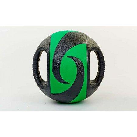 Мяч медицинский (медбол) с двумя рукоятками FI-5111-7 7кг (резина, d-27,5см, черный-зеленый)