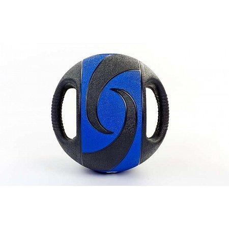 Мяч медицинский (медбол) с двумя рукоятками FI-5111-9 9кг (резина, d-27,5см, черный-синий)