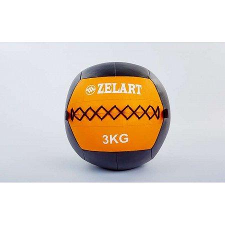 Мяч медицинский (волбол) WALL BALL FI-5168-3 3кг (PU, наполнитель-метал. гранулы, d-33см, оранжевый)