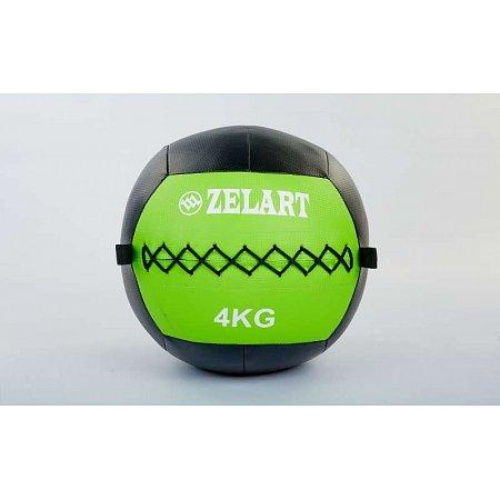 Мяч медицинский (волбол) WALL BALL FI-5168-4 4кг (PU, наполнитель-метал. гранулы, d-33см, зеленый)