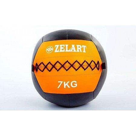 Мяч медицинский (волбол) WALL BALL FI-5168-7 7кг (PU, наполнитель-метал. гранулы, d-33см, оранжевый)