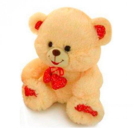 Мягкая игрушка бежевый медведь с декоративными сердечками (музыкальная, 23 см), LAVA, бежевый, LF867A-1