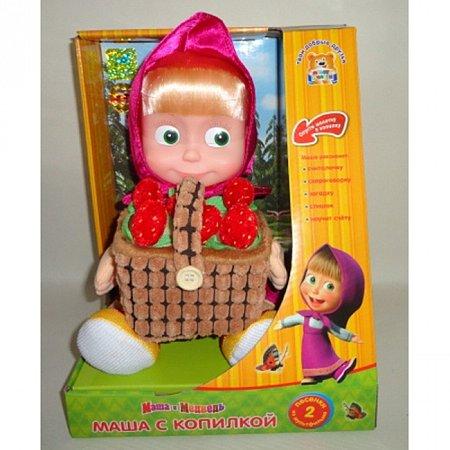 Мягкая игрушка - МАША С КОПИЛКОЙ ДЛЯ ДЕНЕГ (пластизолевое лицо, озвуч., 30 см), V91753/30