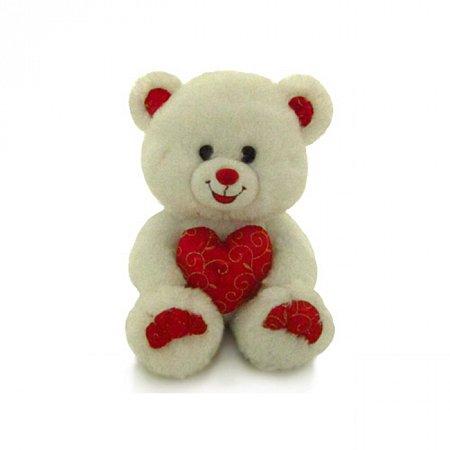 Мягкая игрушка Медведь белый блестящий с сердцем (музыка, 20 см), Lava, LF1060