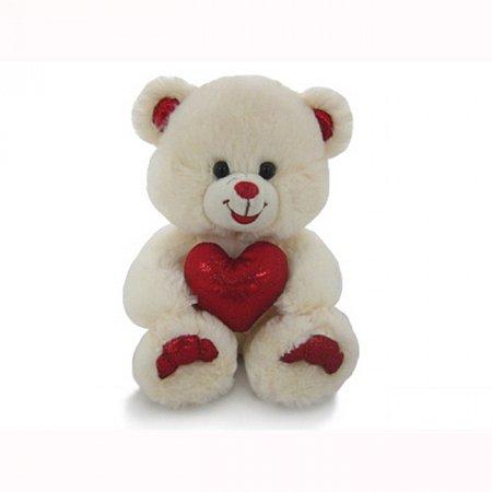 Мягкая игрушка Медведь бежевый с сердцем (музыка, 20 см), Lava, LF1061