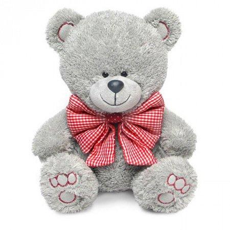 Мягкая игрушка Медвежонок Ники с клетчатым бантом (муз 21,5 см), Lava, LA8786H