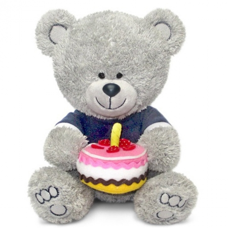 Мягкая игрушка Медвежонок Ники с тортом (муз 21,5 см), Lava, LA8786K