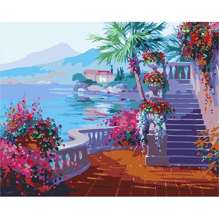 Набережная в цветах, Городской пейзаж, рисование по номерам, 40 х 50 см, Идейка, Набережная в цветах (MG1094)
