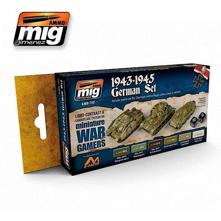 Набор акриловых красок Ammo A.MIG-7117 WARGAME 1943-1945 GERMAN SET