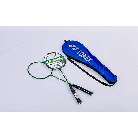 Набор для бадминтона 2 ракетки в чехле YONEX YY-1308-G (сталь, цвет т.зеленый, дубл)
