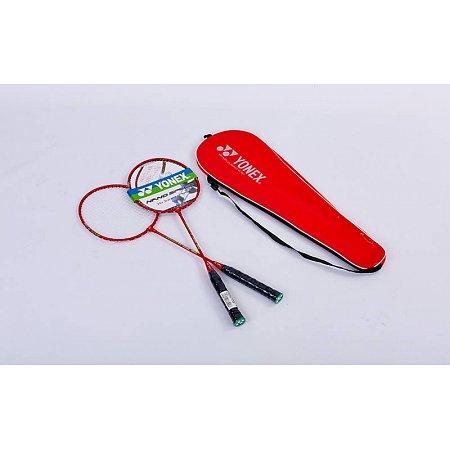 Набор для бадминтона 2 ракетки в чехле YONEX YY-1308-R (сталь, цвет красный, дубл)