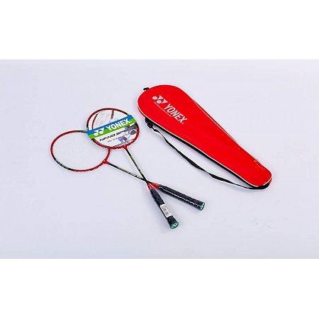 Набор для бадминтона 2 ракетки в чехле YONEX YY-1308-RB (сталь, цвет красный-черный, дубл)
