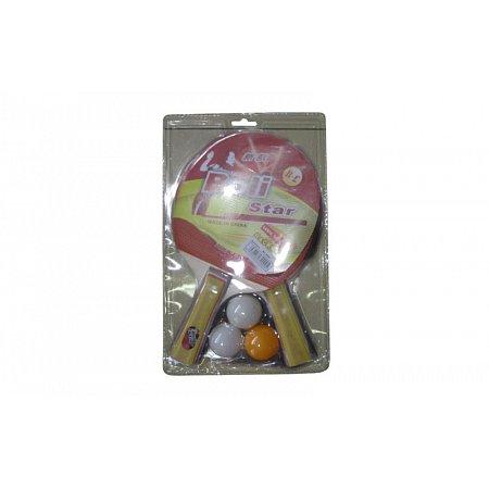 Набор для наст. тенниса Boli Star (2рак+3шар) MT-9000 (древесина, резина, пластик)