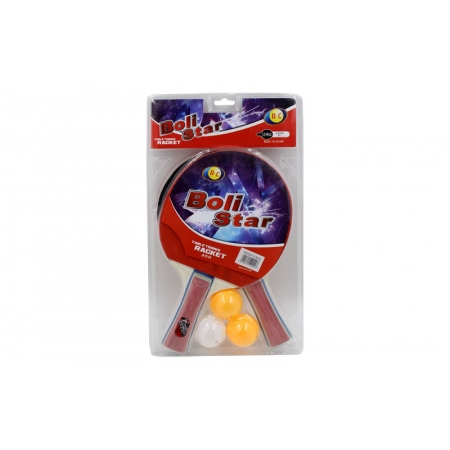 Набор для наст. тенниса Boli Star (2рак+3шар) MT-9002 (древесина, резина, пластик)