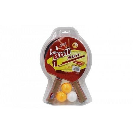 Набор для наст. тенниса Boli Star (2рак+3шар) MT-9004 (древесина, резина, пластик)