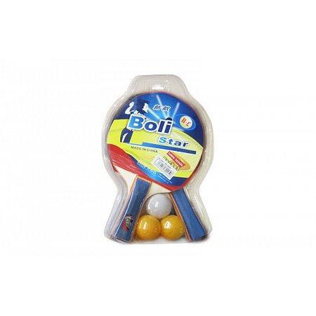Набор для наст. тенниса Boli Star (2рак+3шар) MT-9005 (древесина, резина, пластик)