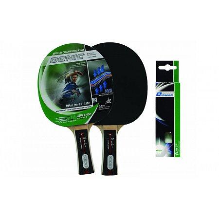 Набор для наст. тенниса DONIC (2рак+3шар) LEVEL 400 MT-788652 WALDNER (древесина, резина, пластик)