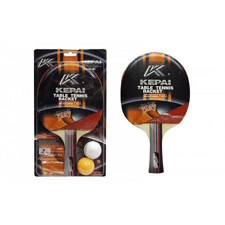 Набор для наст. тенниса KEPAI (1рак+2шар) KP-2138 2star (древесина, резина, пластик)