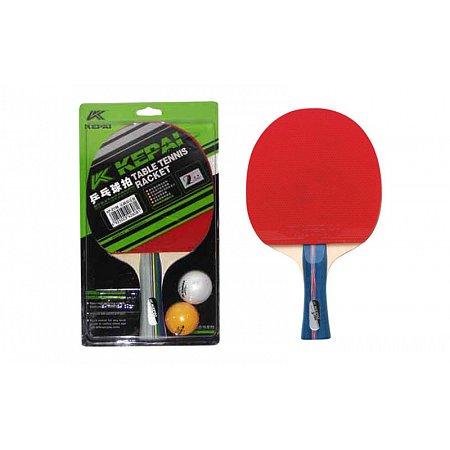 Набор для наст. тенниса KEPAI (1рак+2шар) KP-3138 3star (древесина, резина, пластик)