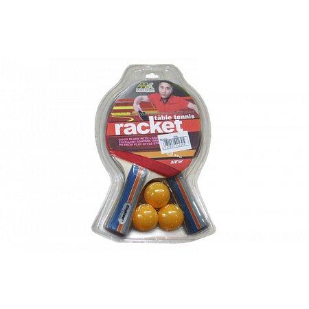 Набор для наст. тенниса MK (2рак+3шар) 0206 (древесина, резина, пластик)