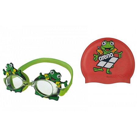 Набор для плавания ARENA детский: очки, шапочка AR-92295-20 WORLD (поликарбон, TPR, силикон,цвета в ассор)