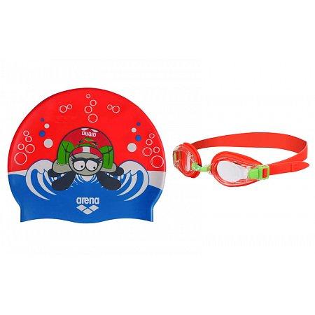 Набор для плавания ARENA детский: очки, шапочка AR-92413-44 AWT MULTI (поликарбонат, TPR,силикон, оранжев)
