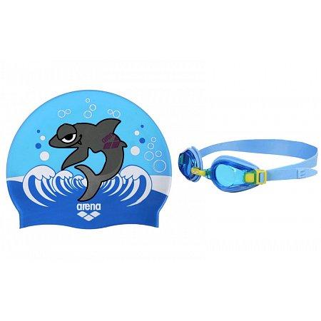 Набор для плавания ARENA детский: очки, шапочка AR-92413-63 AWT MULTI (поликарбонат, TPR, силикон, синие)