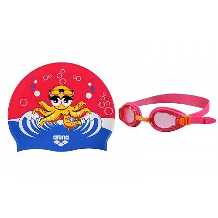 Набор для плавания ARENA детский: очки, шапочка AR-92413-98 AWT MULTI (поликарбонат, TPR, силикон,розовый)