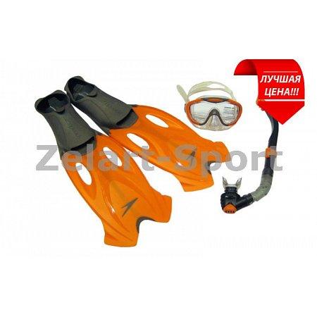 Набор для плавания: маска, трубка, ласты SPEEDO 8016593921-45-46 (термостекло, пластик, силикон)