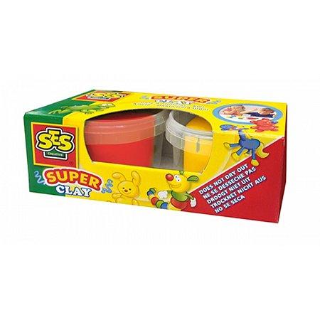 Незасыхающая масса для лепки - ДУЭТ (красный, желтый цвета, в пластиковых баночках), Ses 04521S