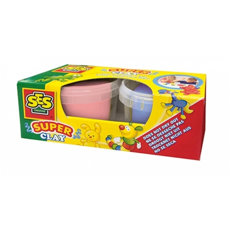 Незасыхающая масса для лепки - ДУЭТ (розовый, сиреневый цвета, в пластиковых баночках), Ses 04525S