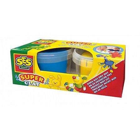 Незасыхающая масса для лепки - ДУЭТ (синий, желтый цвета, в пластиковых баночках), Ses 04524S