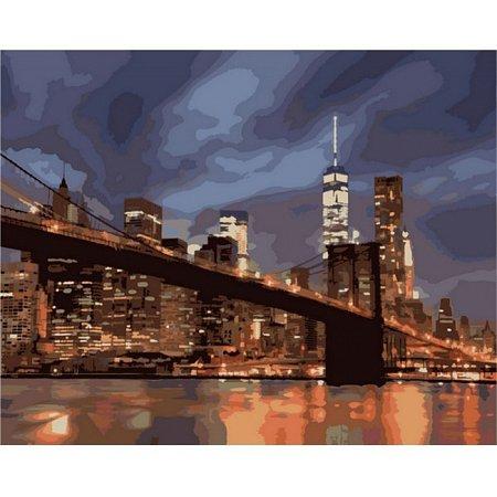 Ночной Нью-Йорк, серия Городской пейзаж, рисование по номерам, 40 х 50 см, Идейка, Ночной Нью-Йорк (KH2133)