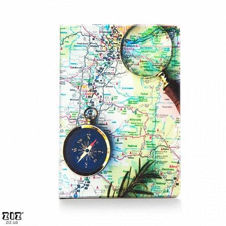 Обложка для паспорта Карта с компасом , ZIZ-10101