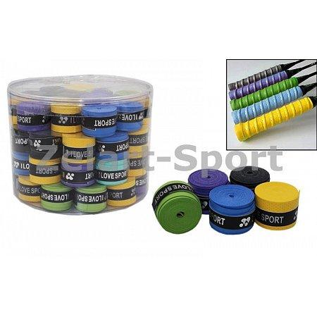 Обмотка на ручку ракетки теннис,сквош,бадминтон Grip BD-4573 I LOVE SPORT (PU,в уп.60шт,цена за 1шт)