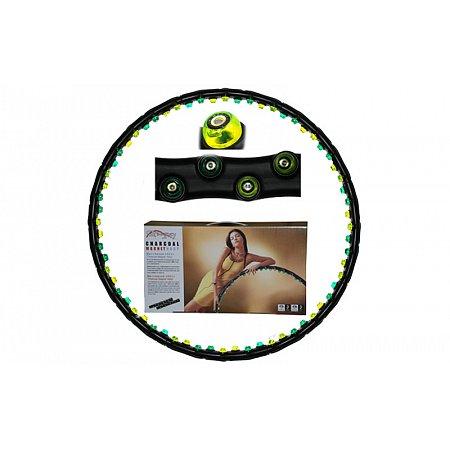 Обруч массажный Hula Hoop FI-0016 CHARCOAL MAGNET HOOP (1,23кг, пластик,8 секций, d-100см,с магнит)