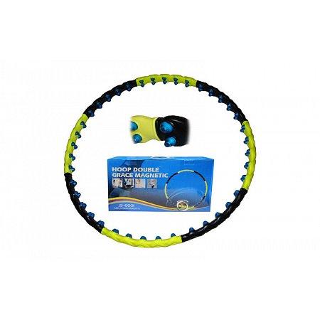 Обруч массажный Hula Hoop JS-6001 DOUBLE GRACE MAGNETIC (1,8кг,пластик,8 секций,d-110см,с магнитами)