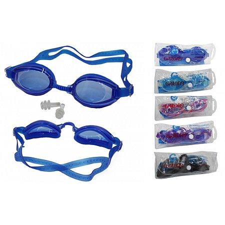 Очки, беруши для плавания GRILONG F268 (пластик, силикон, цвета в ассортименте)