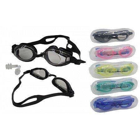 Очки, беруши для плавания GRILONG G-7008 (пластик, силикон, цвета в ассортименте)