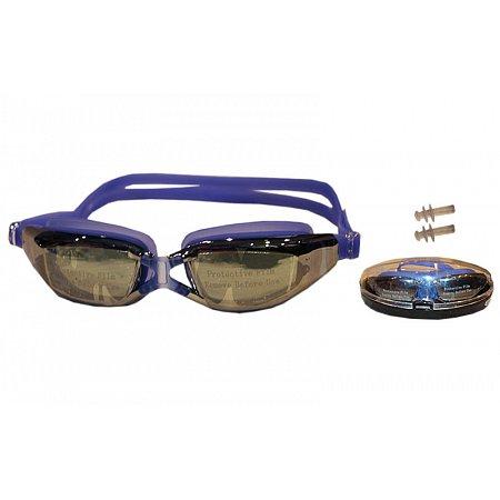 Очки, беруши для плавания SAILTO 801AF (пластик, силикон, зеркальные, цвета в ассортименте)