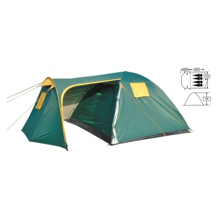 Палатка кемпинговая 4-х местная с тентом и тамбуром FRT-206-4 (р-р (2+2,4)х2,4х1,7 м, PL 190T)
