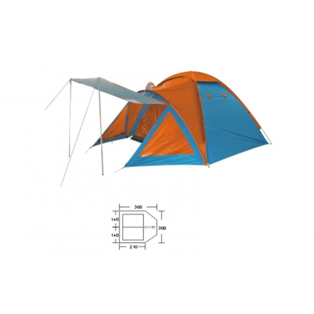Палатка универсальная 3-х местная с тентом и тамбуром BL-1009 DOME TENT ((1,5+2,1)х3х1,85 м)