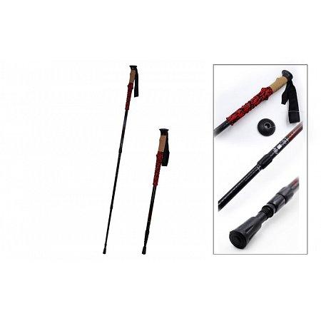 Палка треккинговая (для скандинавской ходьбы) (1шт) TY-3202 (Carbonfiber, 4 слож, l-55-135см)