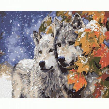 Пара волков, серия Животные и птицы, рисование по номерам, 40 х 50 см, Идейка, KH2434
