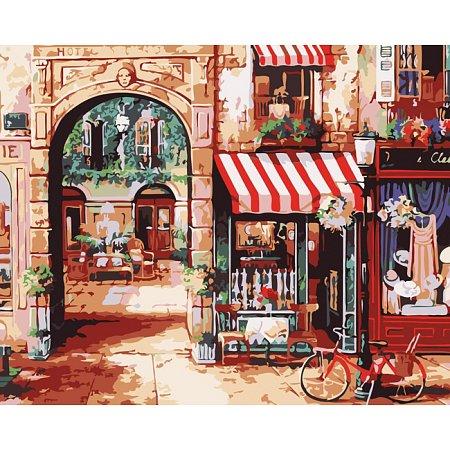 Парижская улочка 2, Городской пейзаж, рисование по номерам, 40 х 50 см, Идейка, Парижская улочка 2 (MG1106)