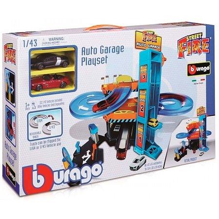 Паркинг, серия Street Fire (3-х уровневая трасса, 2 машинки), 1:43, Bburago, 18-30361
