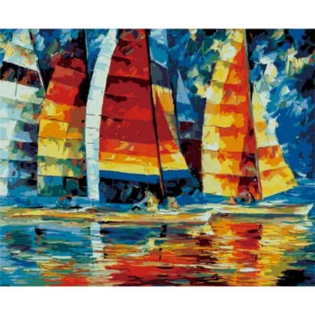 Парусники, серия Море, рисование по номерам, 40 х 50 см, Идейка, Парусники (KH1015)