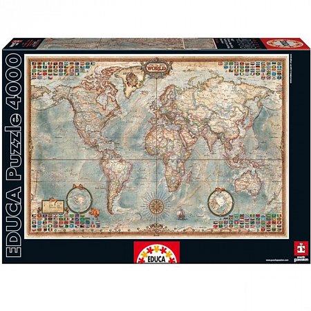Пазл EDUCA Политическая карта мира 4000 элементов (EDU-14827)